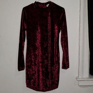 'Say What?' L Maroon Suede Longsleeve dress